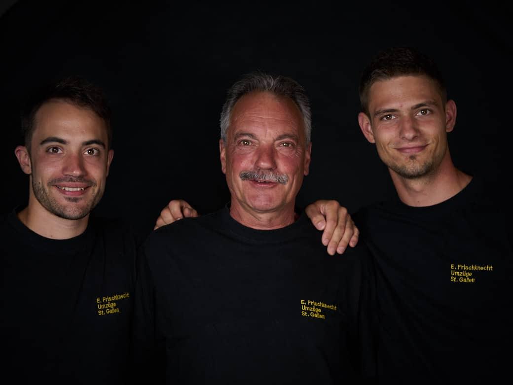 Familienporträt von links nach rechts: Ralf Frischknecht, Erich Frischknecht, Dominic Frischknecht